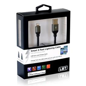 LBT APPLE APPROVED LIGHTNING 5FT USB KNITTED CABLE W/SMART LED/ALUMINUM BODY