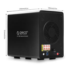 "ORICO 9548RU3 Tool Free Aluminum USB 3.0 4 bay 3.5"" SATA RAID Hard Drive Enclosure Support 4x 6TB Drive"