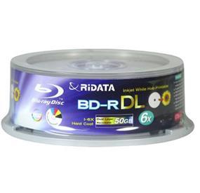 Ridata BD-R 50GB 6X BD-R DL Inkjet White Hub Printable 25 Packs Spindle (BDR-506-RDIWN-CB25 )