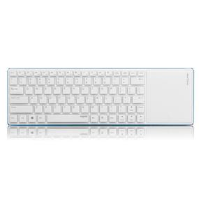 Rapoo E6700 Ultra-Slim Aluminum Wireless Bluetooth Multimedia Keyboard w/ Smart Touchpad - White / Blue