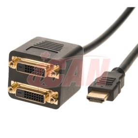 iCAN HDMI Male  (Source) to 2 x DVI-D Female  (outputs) passive splitting adapter (ADP HDMIM-2DVIF)