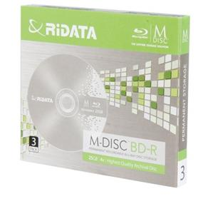 Ridata BD-R25GB M-Disc 4x Blu-Ray W/ Jewel Case 3 Pack