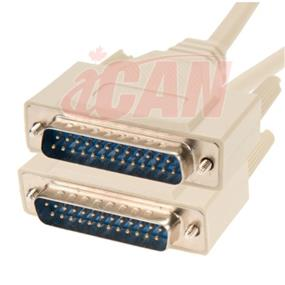 iCAN External Computer Serial Cable  (RS232), DB25, Male / Male, Straight-Through  Molded Connectors - 15 ft. (RS232-25MM-015)
