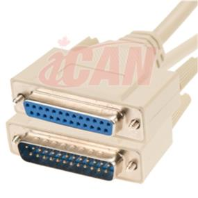 iCAN External Computer Serial Cable  (RS232), DB25, Male/Female Extension, Straight-Through  Molded Connectors - 15 ft. (RS232-25MF-015)