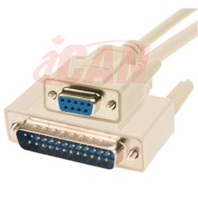 iCAN External Computer Serial ATA Modem Cable, DB9 Female/DB25 Male,Molded Connectors - 25 ft (ASM925FM-025)