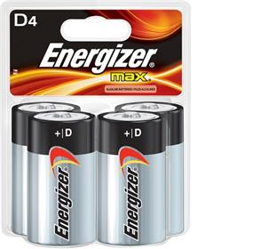 Energizer Max 4xD Alkaline Battery (E95BP4)