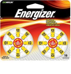 Energizer Size 10 Zinc-Oxide 1.4V Hearing Aid Batteries 16-Pack (AZ10DP16)