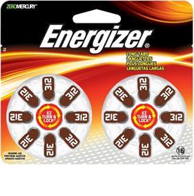 Energizer Size 312 Zinc-Oxide 1.4V Hearing Aid Batteries 16-Pack (AZ312DP16)