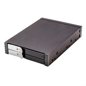SYBA Removable Mobile Rack for Dual 2.5 SATA2 HDD / SSD, Fit in 3.5 Bay, Aluminum Case Design, with Security Lock, Black Color (SY-MRA25033)
