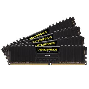 Corsair Vengeance LPX 16GB (4x4GB) DDR4 2666MHz CL16 Quad-Channel DIMMs - Black (CMK16GX4M4A2666C16)