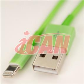 iCAN Lightning Male to USB male Cable for Data Sync & Charging designed for iPhone 6, 6+ GREEN (IOS8.0+) (Works for all models) - 4ft. (AP LTN8P8-4GN)
