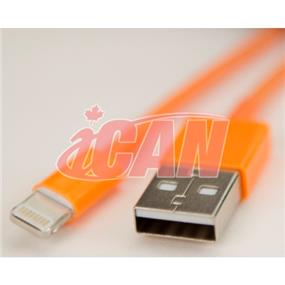 iCAN Lightning Male to USB male Cable for Data Sync & Charging designed for iPhone 6, 6+ ORANGE (IOS8.0+) (Works for all models) - 4ft. (AP LTN8P8-4OR)