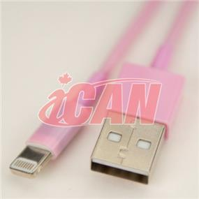 iCAN Lightning Male to USB male Cable for Data Sync & Charging designed for iPhone 6, 6+ PINK (IOS8.0+) (Works for all models) - 4ft. (AP LTN8P8-4PK)