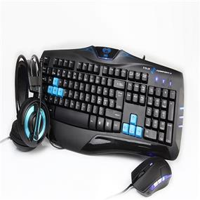 E-Blue Cobra Gaming Keyboard, Headset and Mouse Combo in a unique gift box, US English Layout- Blue (EKM806BLUS-IU)