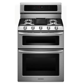 KitchenAid 30-Inch 6.7 cu.ft. 5 Gas Burner Freestanding Dual-Fuel Double Oven Range with Even-Heat Convection - Stainless Steel (KDRS505XSS)