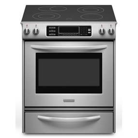 KitchenAid Slide-In Electric Range with 4 Radian Element Cooktop with True Convection Oven Front Control Knobs Architect Series II - Stainless Steel (YKESS907SS)