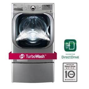 LG 6.0 cu.ft. 27 Inch Mega Capacity Front Load Steam Washer with TurboWash Technology - Graphite Steel (WM8000HVA)