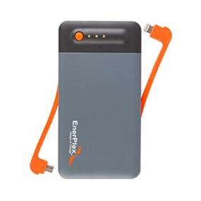 Enerplex 9400 mAh Stackable, Chainable Chargepack  Micro-USB and Lightning outputs Rechargeable Power Bank Orange tethered (JU-STACK-9)