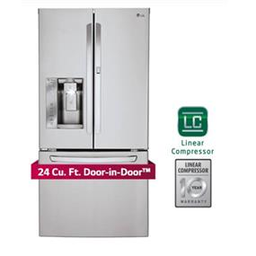 LG 33 inch , 24 cu.ft. French Door Refrigerator Door-in-Door - Stainless Steel (LFXS24663S)