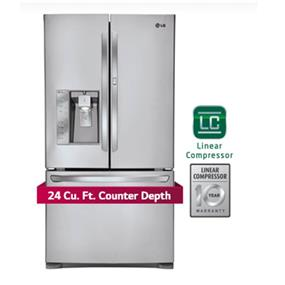 LG 36 inch , 24 cu.ft. French Door Refrigerator - Stainless Steel (LFXC24766S)