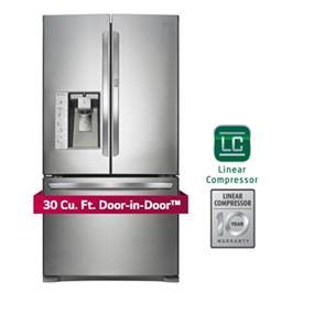 LG 36 inch , 30 cu.ft. French Door Refrigerator Door-In-Door - Stainless Steel (LFXS30766S)