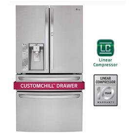 LG 36 Inch 30 cu.ft. French 4 Door with Door-in-Door Refrigerator - Stainless Steel (LMXS30776S)