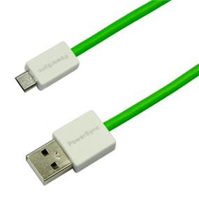 PowerSync USB2.0 AM to Micro B Flexible Round Cable,Green,1.5M