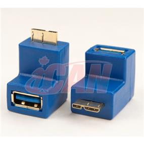 iCAN USB 3.0 SuperSpeed A Female to 90 Degree Micro B Male Gold-plated adapter (ADP U3AF-MBM-90)