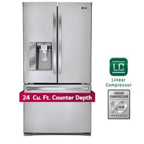LG 36 inch , 24 cu.ft. French Door Counter Depth Refrigerator - Stainless Steel (LFXC24726S)