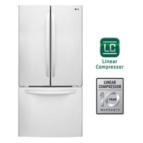 LG 33 inch , 24 cu.ft. French 3 Door Refrigerator with Smart Cooling - White (LFC24786SW)