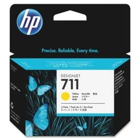 HP 711 3-Pack 29-ml Yellow Ink Cartridges - Inkjet - 3 / Pack (CZ136A)