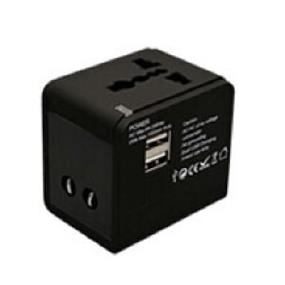 iCAN Universal Adapter A0822 Black with 2.1A USB Power