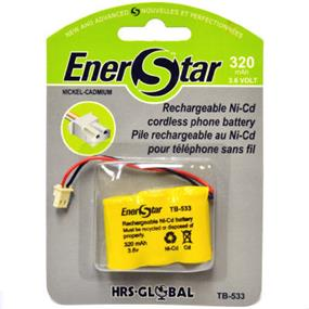 EnerStar Cordless Phone Battery Ni-Cd Battery 320 mAh for Sony. Panasonic, Uniden, Toshiba, Sylvania and Bell South