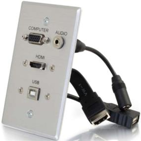 Cables To Go HDMI, VGA, 3.5mm Audio and USB Pass Through Single Gang Wall Plate - Aluminum (39707)