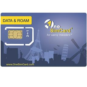 OneSimCard International Prepaid Data and Roam Sim Card Triple Size (standard, micro, nano) preloaded with $5.00 of airtime (OS-S-DTRF)