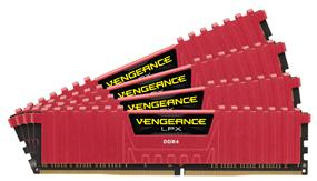 Corsair Vengeance LPX 16GB (4x4GB) DDR4 2666MHz CL16 Quad-Channel DIMMs - Red (CMK16GX4M4A2666C16R)