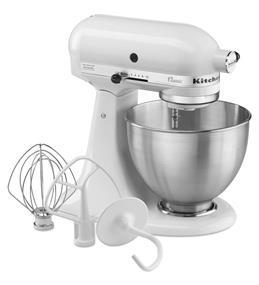 KitchenAid Classic Series 4.5-Quart Tilt-Head Stand Mixer - White (K45SSWH)