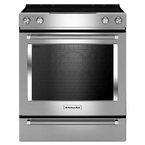 KitchenAid 7.1 cu.ft. 30-Inch 5 Element Electric True Convection Front Control Range with Baking Drawer - Stainless Steel (YKSEB900ESS)