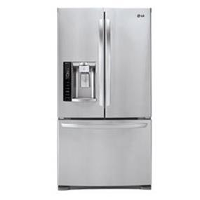 LG 36 inch , 26.8 cu.ft. French 3 Door Refrigerator with Linear Compressor , Smart Pull Handle , Slim Indoor Ice Maker & Smart Diagnosis - Stainless Steel (LFX28968ST)