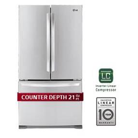 "LG 36"" 20.9 cu.ft  Counter Depth French 3 Door Refrigerator with Linear Compressor, Factory Ice Maker Installed - Stainless Steel (LFC21776ST)"