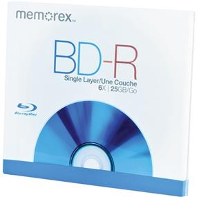 Memorex BD-R25GB 6X Full Logo Surface Blu-Ray Recordable Disc 1 Pack Regular Jewel Case (98685)