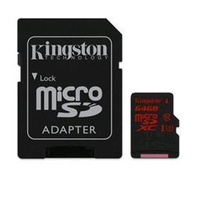 Kingston microSDHC 64GB (Class 10) micro Secure Digital Card Min speed 90MB/s read ,80MB/s write (SDCA3/64GB)