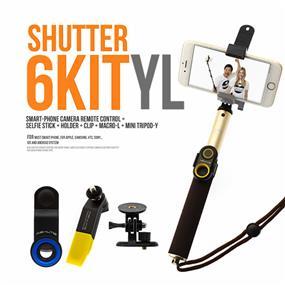 ASHUTB Kit-S6YL - Bluetooth Selfie Stick w/ Clip, Mini Tripod & Universal Macro Lens