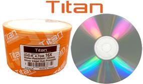 TITAN DVD-R 16X 4.7GB Water Resistant Silver Hub Inkjet Surface Bulk Colour Wrap 50 Packs  (T6891101)