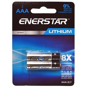 "Enerstar ""AAA"" Lithium 1.5 V up to 8x longer lasting that alkaline batteries, 2 pack (AAA-2LT)"