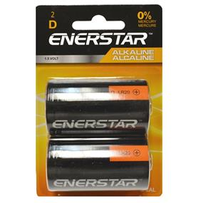 "Enerstar ""D"" alkaline battery, 2 pack (D-2AL)"