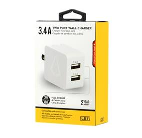 LBT 3.4 Amp Dual Port wall charger Charge your device in less time (LBT050)