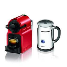 Nespresso Inissia Red & Aeroccino+ Bundle (A+C40-CA-RE-NE)