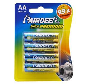 Pairdeer Brand AA Ultra Premium Alkaline Batteries 1.5V 4 pack(9153B-4B)