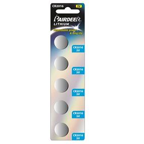 Pairdeer Brand CR2016 lithium button cell 5pcs  (7710B-5B)